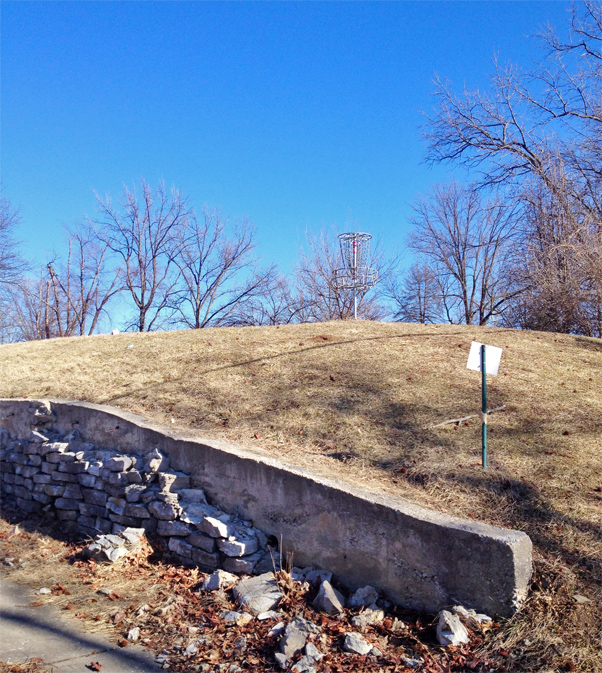 Precarious basket at Carrollton Park in Bridgeton, Mo., a suburb of St. Louis.